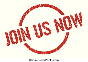join us now red round stamp