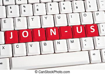 join-us, parola, su, tastiera