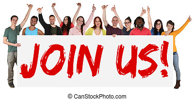 Join us sign group of young students multi ethnic people holding banner