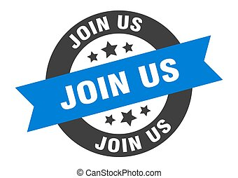 join us sign. join us blue-black round ribbon sticker