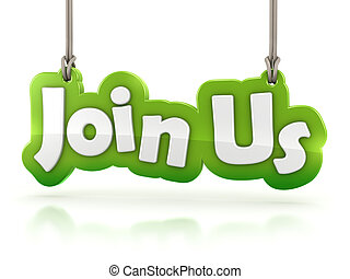 join us text hanging on white background