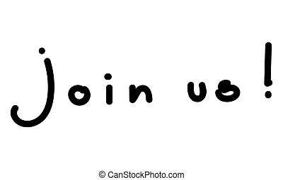 Join us text isolated on a white background.