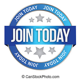 Join us today illustration design over a white background