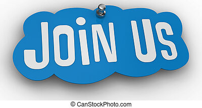 Join us website Pin Sign Word - Blue Join Us sign shape ...