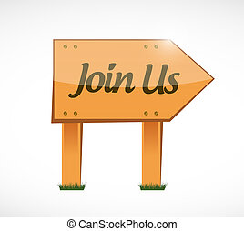 join us wood sign concept