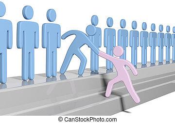joindre, aide, gens, haut, membre, social, nouveau