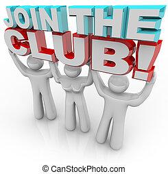 joindre, club, -, recrutement, adhésion, équipe
