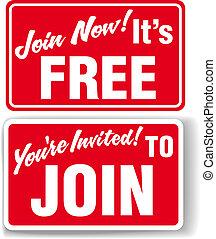 joindre, invitation, adhésion libre, signes, maintenant