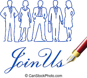 joindre, professionnels, nous, stylo, invitation