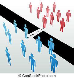 joindre, séparé, gens, ensemble, fusionner, unir, groupes