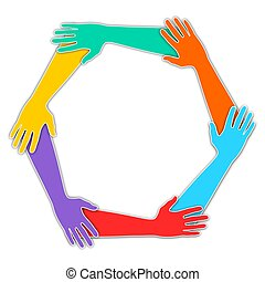 Joined Hands - Illustration of six hands joined together