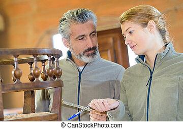joiners, női, fából való, megvizsgáló, hím, berendezés