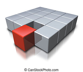Joining a team as a geometric symbol with a red cube merging in partnership with a group of grey shapes as an icon of teamwork and new successful career opportunities.