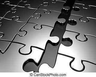 Joining puzzle business concept - Puzzle break apart 3d...