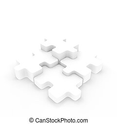 Four connecting puzzle pieces.