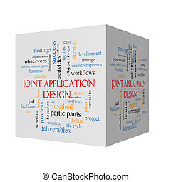 Joint Application 3D Illustration Word Cloud Concept
