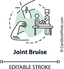 Joint bruise concept icon. Body part contusion, injury. Knee...