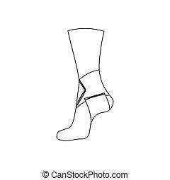joint cheville, bandage, élastique