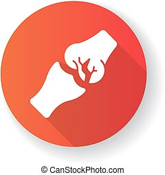 Joint fracture red flat design long shadow glyph icon. Injured limb. Broken bone. Accident. Healthcare. Trauma treatment. Medical condition. Damaged body part. Silhouette RGB color illustration