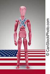 joint, isolé, bois, drapeau, fond, mannequin, confédéré, blanc