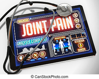 Joint Pain on the Display of Medical Tablet.