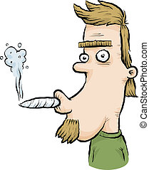 Joint Smoker - A young man smoking a joint.
