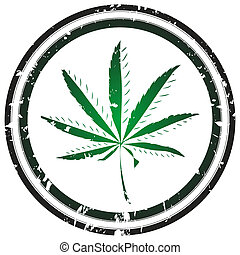 Joint - Grunge stamp with marijuana leaf, vector