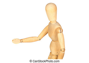 Jointed wooden mannequin greeting