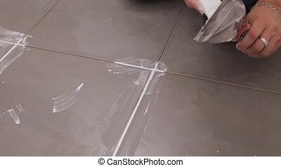 joints, ouvrier, dalles, entre, troweling