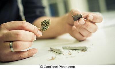 jointure, haschisch, mélange, ensemble, marijuana