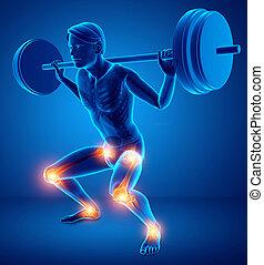 jointure, mâle, douleur, jambe