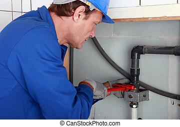 jointure, plombier, clé, serrage