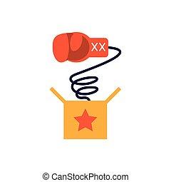 joke box with boxing glove, flat style icon
