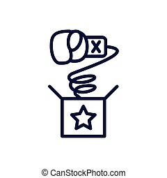 joke box with boxing glove, line style icon