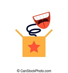 joke box with cartoon mouth laughing, flat style icon