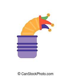 joke box with jester hat, flat style icon