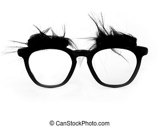 A pair of bushy-eyed, thick-rimmed joke glasses.