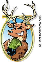 Joke Illustration of Big Bucks, Smiling Buck With Roll of Money