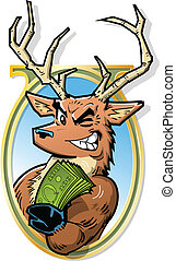 Big Bucks - Joke Illustration of Big Bucks, Smiling Buck...