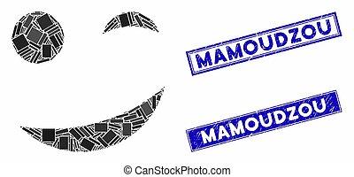 Joke Smiley Mosaic and Distress Rectangle Mamoudzou Stamp Seals