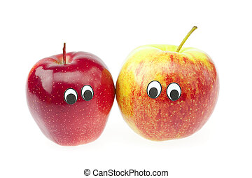 joke two apple with eyes isolated on white