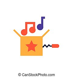 jokebox with musical notes, flat style icon