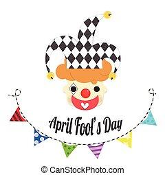 joker, avril, tête,  fools, jour
