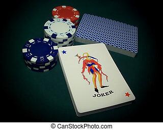 Joker Card With Poker Chips
