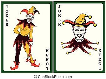 joker, carte, déguisement, coloré, jouer