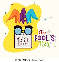 joker hat with funny glasses and calendar to fools day