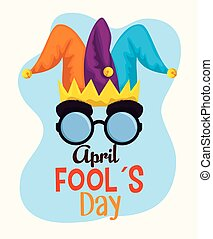 joker hat with funny glasses to fools day