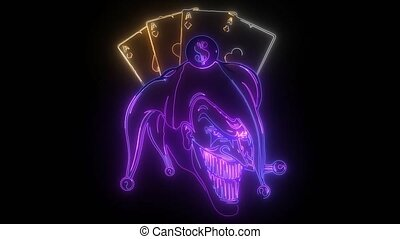 joker head with ace poker animation - joker head, face ...