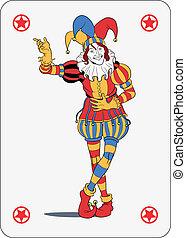 Joker playing card - Joker in colorful costume playing card