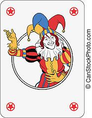 Joker playing card - Joker coming out of circle playing card